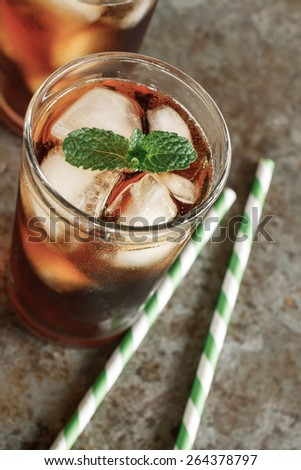 Iced tea Lemon put on grunge background - stock photo