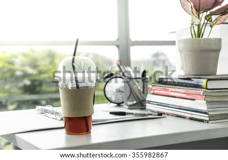iced Tea on desk office.showing refreshment concept/selective focus - stock photo