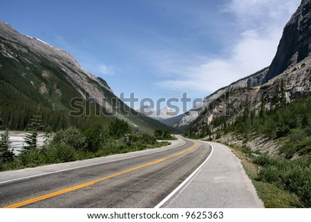 Icefields Parkway in Banff National Park of Canada. Mountain landscape. - stock photo