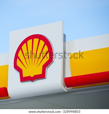 ICELAND - AUG 29: Shell sign on Aug. 29, 2015 in Iceland. Shell Oil Company is US-based subsidiary of Royal Dutch Shell, a multinational oil company. As of 2012 Revenue: $467.2 billion. - stock photo