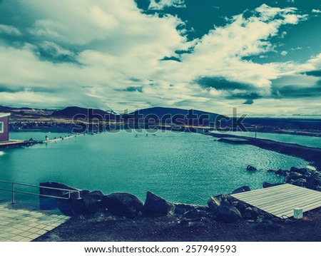 Iceland background geothermal blue lagoon - stock photo