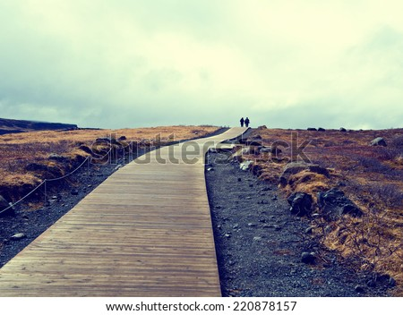 Iceland background road - stock photo