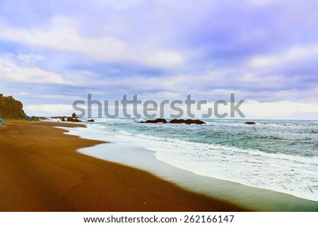 Iceland background road nature landscape sea - stock photo