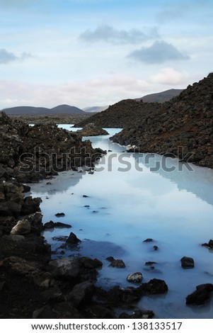Iceland Blue Lagoon with volcanic rock - stock photo