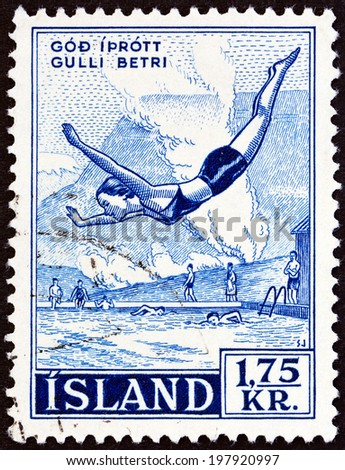 """ICELAND - CIRCA 1955: A stamp printed in Iceland from the """"Icelandic National Sports """" issue shows Icelandic Wrestling (Diving), circa 1955.  - stock photo"""
