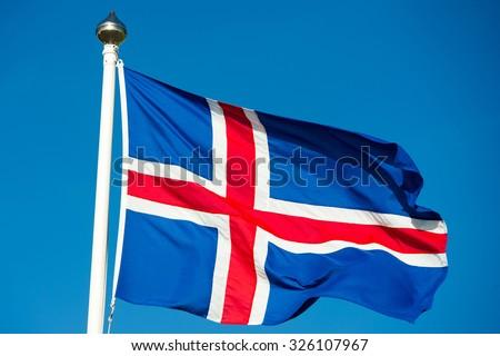 Iceland flag - flag of Iceland - Icelandic flag - stock photo