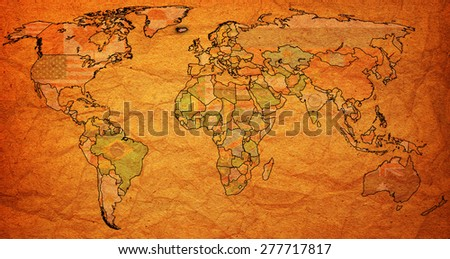 iceland flag on old vintage world map with national borders - stock photo