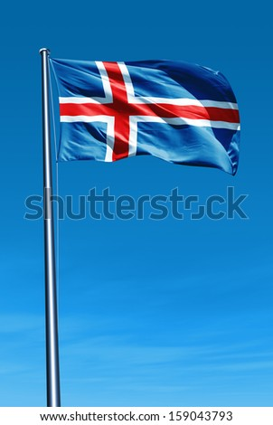 Iceland flag waving on the wind - stock photo