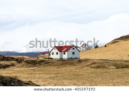 Iceland House and Landscape - stock photo