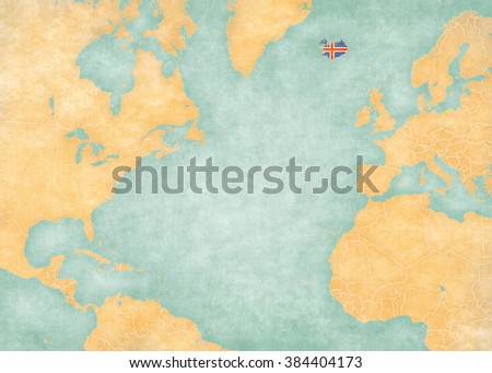 Iceland (Icelandic flag) on the map of North Atlantic Ocean. The Map is in vintage style and sunny mood. The map has soft grunge and vintage atmosphere, like watercolor painting on old paper.  - stock photo