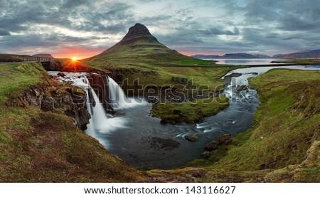 Iceland Landscape spring panorama at sunset -  kirkjufell - stock photo