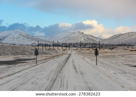 Iceland Landscape : Winter Iceland Road - stock photo