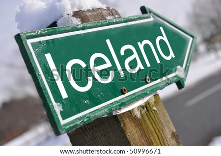 ICELAND road sign - stock photo