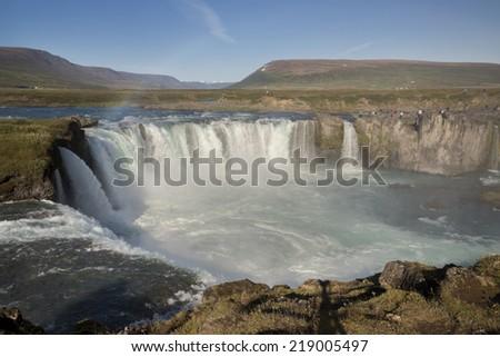 Iceland's Godafoss, Waterfall of the Gods - stock photo