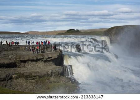 Iceland's Gullfoss Waterfall - stock photo