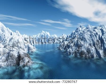 iceland scene - stock photo