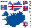 Iceland set. Detailed country shape with region borders, flags and icons isolated on white background. - stock photo