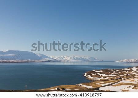 Iceland winter landscape natural background - stock photo