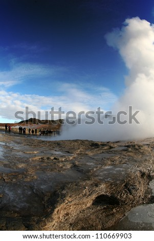 Iceland with fisheye. Geyser. - stock photo