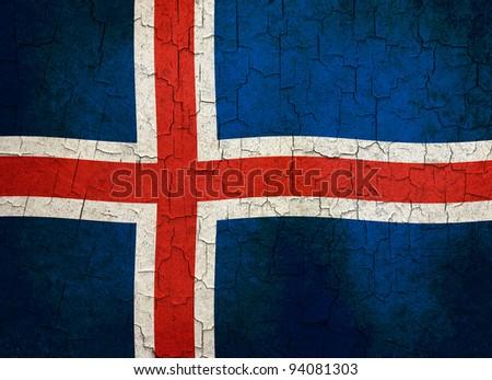 Icelandic flag on a cracked grunge background - stock photo