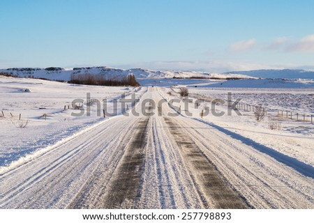 Icelandic Winter Road - stock photo