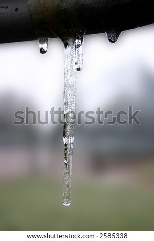 icicle on a cold winter day - stock photo