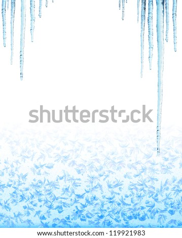 Icicles. Isolated over white - stock photo