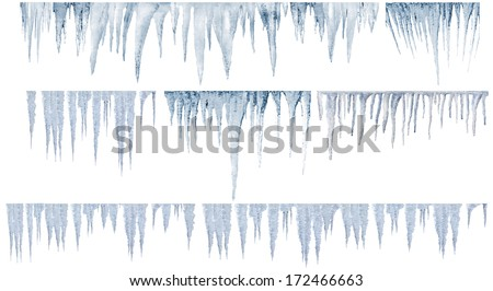 icicles numbers of different and real type - stock photo