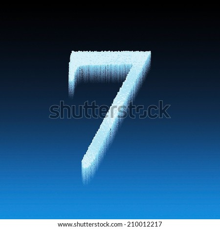 Icing alphabet digit number 7 seven isolated on blue background - stock photo