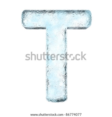 Icing alphabet the letter T (High definition isolated on white) - stock photo