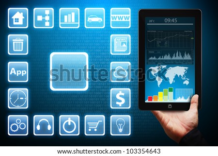 icon and Touch pad - stock photo