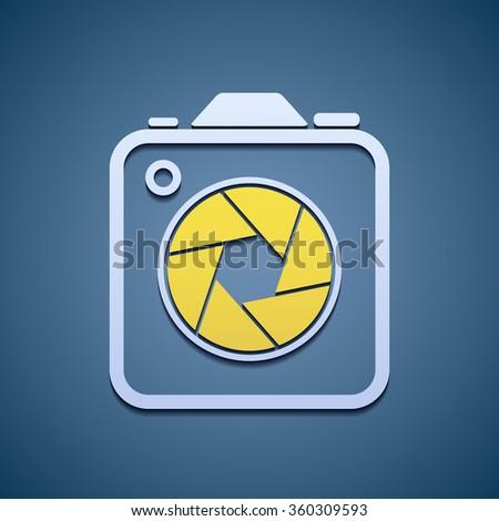 Icon aperture camera. Flat graphics. Stock illustration. - stock photo