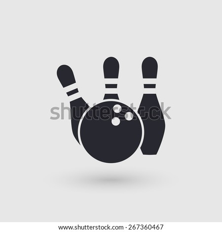 Icon bowling. Ball and three pins. Pictogram pointer. Rasterized version. - stock photo