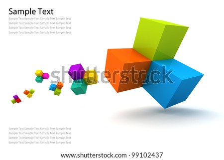 Icon Box color 3D Render - stock photo