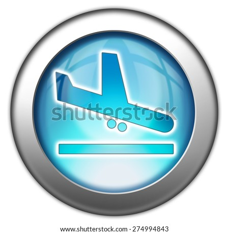 Icon, Button, Pictogram with Airport Arrivals symbol - stock photo