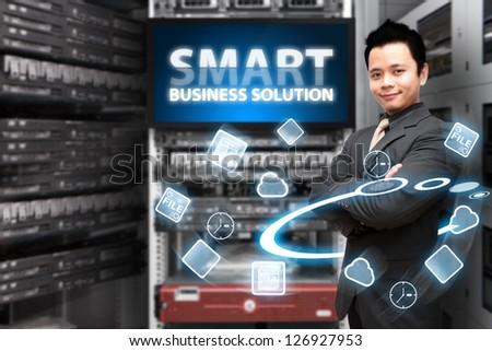 Icon control in data center room - stock photo