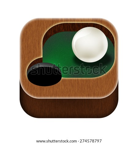 Icon for mobile game of billiards. - stock photo