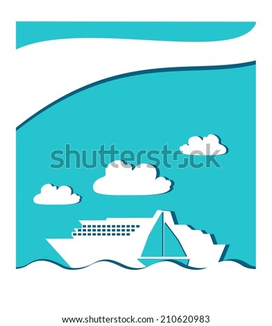 icon graphic seascape with ferry boat and sail boat in white frame - stock photo