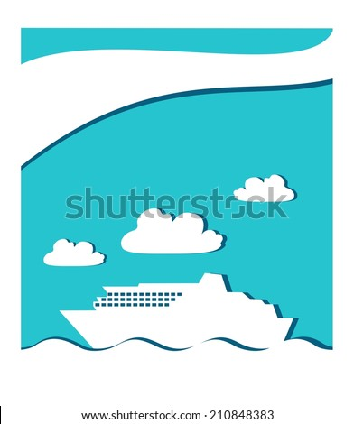 icon graphic seascape with ferry boat in white frame - stock photo