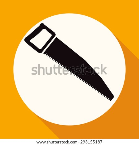 Icon hand saw on white circle with a long shadow - stock photo