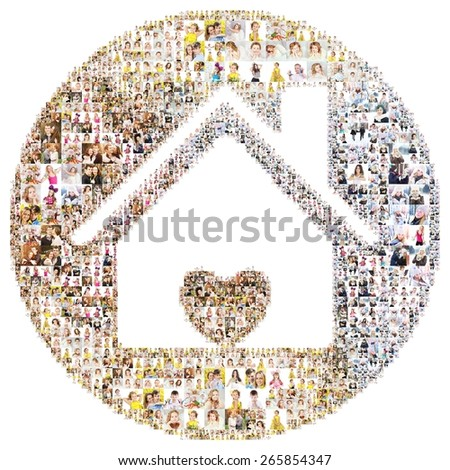Icon house with love. Formed with peoples photography. Isolated - stock photo