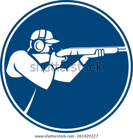 Icon illustration of a man with shotgun shooting aiming in trap shooting sport viewed from side set inside circle on isolated background done in retro style. - stock photo