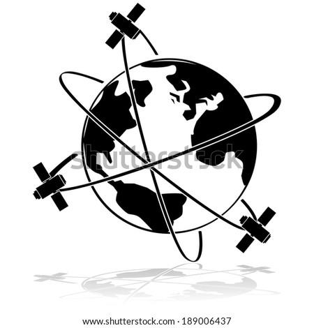 Icon illustration showing three satellites orbiting Earth - stock photo