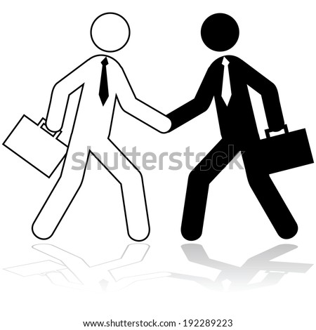 Icon illustration showing two stick figures dressed up as businessmen shaking hands - stock photo