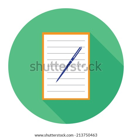 Icon notebook and pen - stock photo