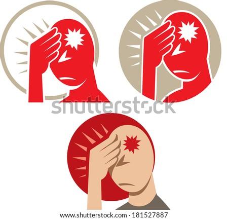 Icon of a headache or migraine - stock photo