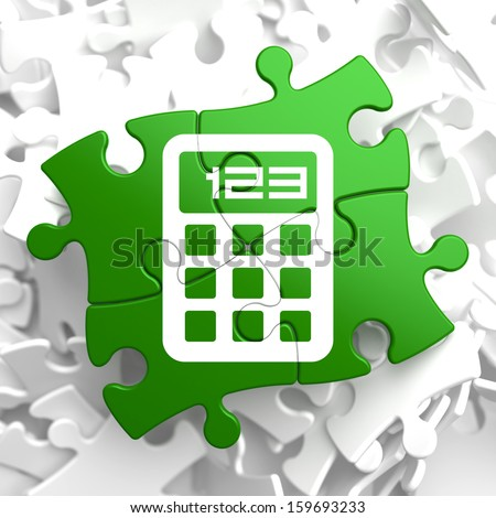 Icon of Calculator on Green Puzzle. - stock photo