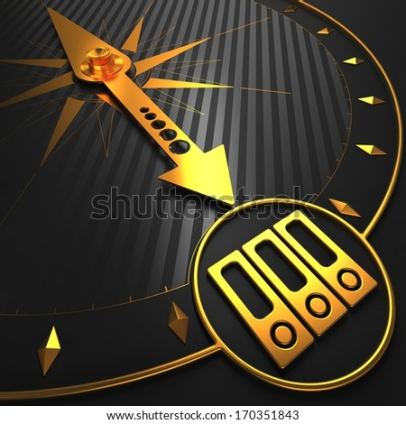 Icon of Folders - Golden Compass Needle on a Black Field Pointing. - stock photo