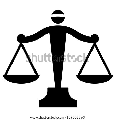 Icon of justice scales - stock photo
