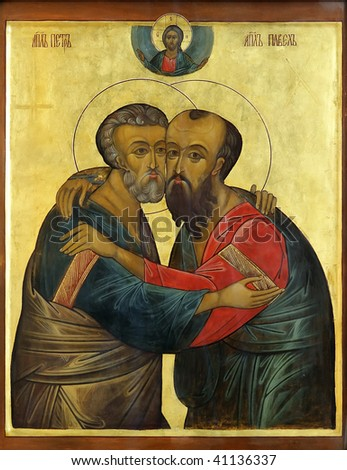 Icon of saint Apostles Paul and Peter on mahogany and gold - stock photo